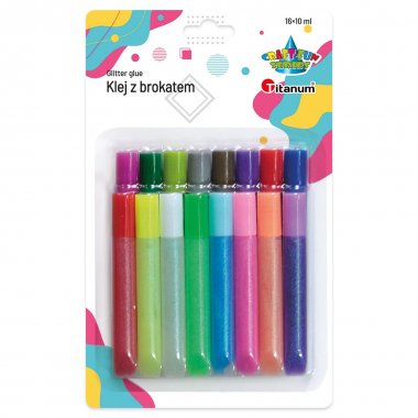 Kleje z brokatem 16szt 10ml MIX Titanum