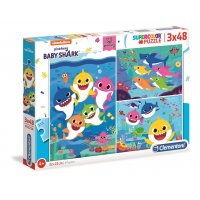 Puzzle 3x48 Superkolor Baby Shark Clementoni